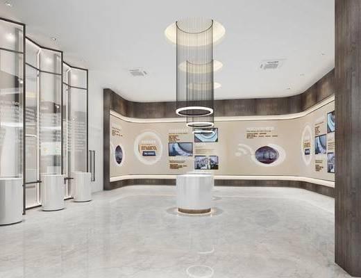 現代, 展廳, 吊燈, 展示柜