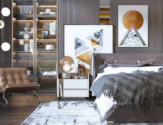 現代, 掛畫, 裝飾架, 擺件, 單人沙發, 床頭柜, 臺燈, 相框, 雙人床