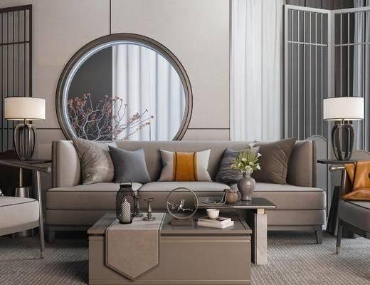 新中式, 多人沙发, 台灯, 摆件, 茶几, 边几, 花瓶花卉, 单人沙发