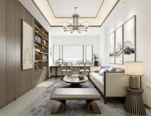 新中式书房, 书房, 新中式吊灯, 置物柜, 边几, 台灯, 装饰画, 沙发茶几组合