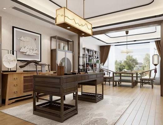 新中式書房, 新中式茶室, 新中式吊燈, 新中式裝飾柜, 新中式書桌, 新中式茶桌