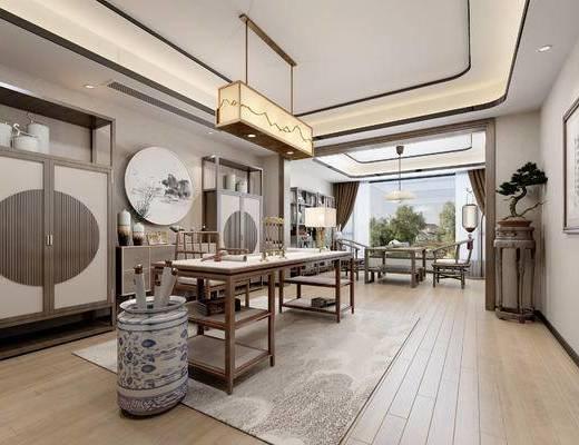 新中式書房, 新中式茶室, 書桌, 茶桌, 新中式裝飾柜, 新中式吊燈