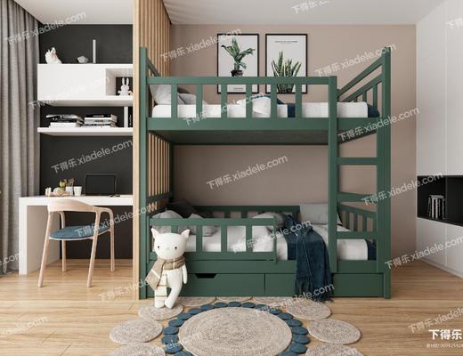 现代儿童房, 北欧儿童房, 上下床, 床具组合, 高低床, 书桌, 书桌椅组合