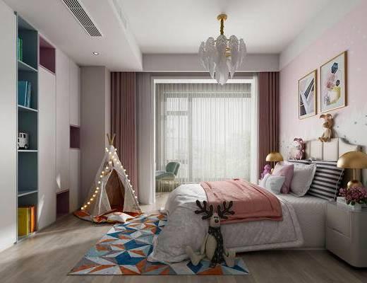现代儿童房, 北欧儿童房, 现代衣柜, 床具组合, 水晶吊灯, 装饰画
