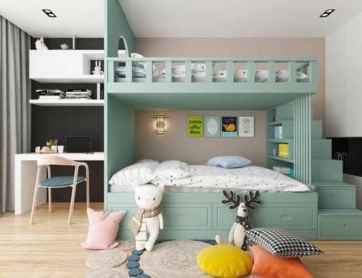 现代儿童房, 北欧儿童房, 床具组合, 上下床, 高低床, 书桌, 桌椅组合, 玩具