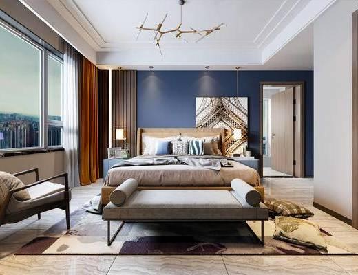 现代卧室, 北欧卧室, 床具组合, 现代吊灯, 装饰画, 现代?#39184;?#26588;