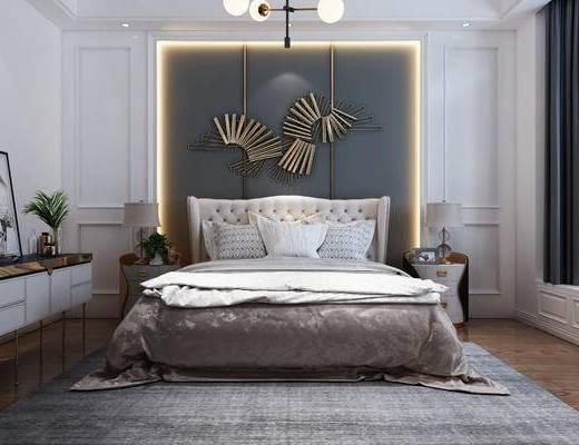 歐式, 床頭柜, 雙人床, 臺燈, 吊燈, 墻飾
