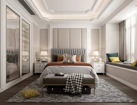 歐式, 雙人床, 床頭柜, 臺燈, 擺件