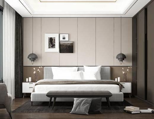 現代, 臥室, 雙人床, 掛畫, 吊燈, 擺件, 單人沙發, 床頭柜