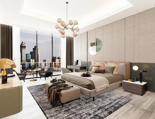 現代, 床頭柜, 臥室, 雙人床, 臺燈, 吊燈, 擺件, 墻飾