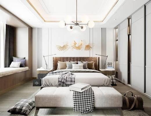 現代, 臥室, 雙人床, 床頭柜, 臺燈, 吊燈, 擺件