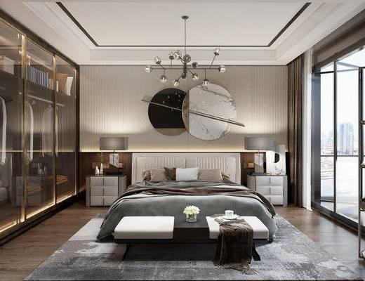 现代, 卧室, 双人床, 床头柜, 台灯, 吊灯, 摆件, 墙饰