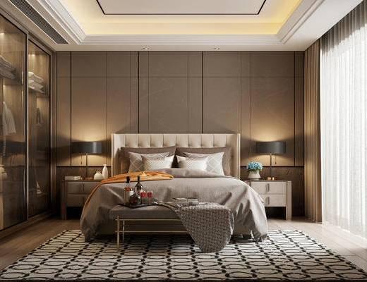 現代, 臥室, 床頭柜, 臺燈, 雙人床, 擺件