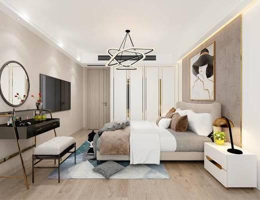 現代, 臥室, 雙人床, 臺燈, 床頭柜, 梳妝臺, 吊燈, 化妝品, 盆栽