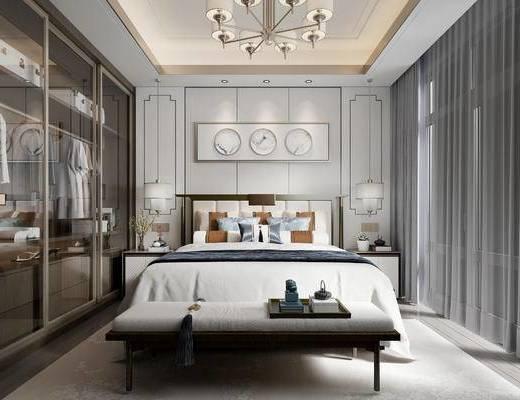 新中式, 臥室, 吊燈, 床頭柜, 臺燈, 雙人床, 擺件, 墻飾