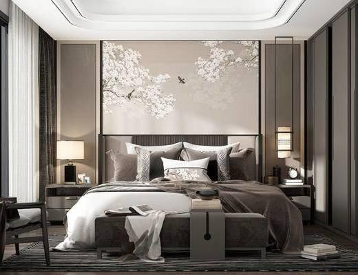 新中式, 卧室, 双人床, 边几, 台灯, 吊灯, 摆件