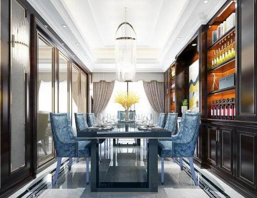 美式餐厅, 餐厅, 餐桌, 椅子, 置物柜, 书柜, 带灯, 餐具, 花瓶
