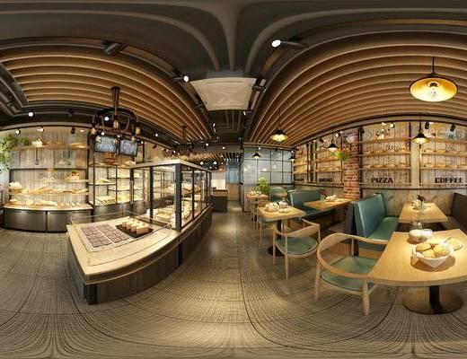 现代甜品店, 现代蛋糕店, 蛋糕店, 餐桌, 椅子, 吊灯, 置物架, 蛋糕, 面包, 现代面包店, 面包店
