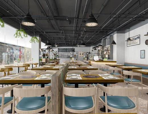 现代餐厅, 面馆, 餐厅, 餐桌, 椅子, 桌椅组合, 吊灯, 餐具, 置物架, 摆件