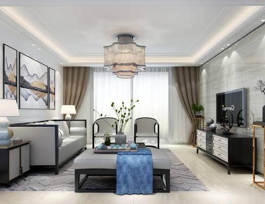 新中式客厅, 客厅, 沙发茶几, 吊灯, 电视柜, 边几, 盆栽, 挂画, 边柜, 台灯