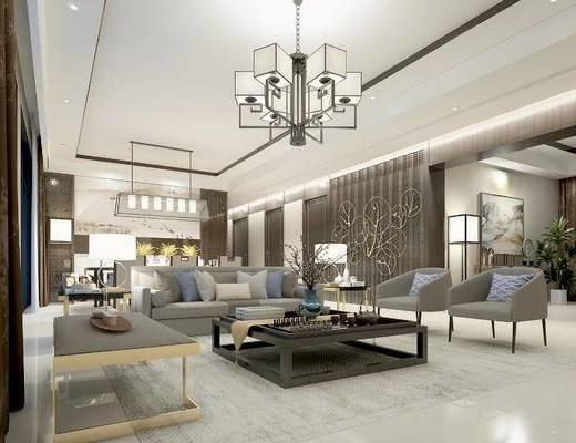 新中式客厅, 客厅, 沙发茶几, 吊灯, 餐厅, 墙饰, 台灯, 茶具, 花瓶, 摆件