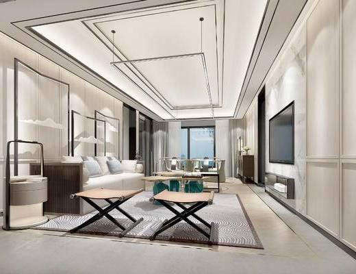 新中式客厅, 客厅, 沙发茶几, 吊灯, 装饰柜, 摆件