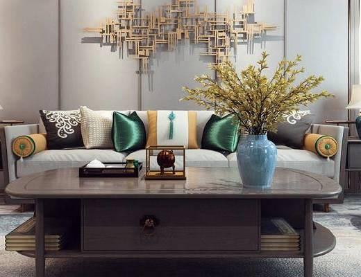 新中式客厅, 客厅, 沙发茶几, 花瓶, 墙饰, 边几, 台灯
