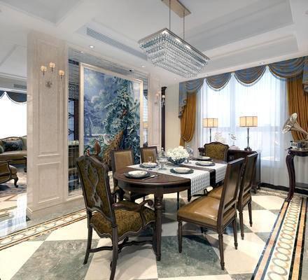 美式餐厅, 餐厅, 美式餐桌, 椅子, 壁灯, 台灯, 水晶吊灯, 餐具, 壁画