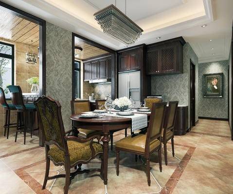 美式餐厅, 餐厅, 美式厨房, 厨房, 餐桌, 椅子, 吧台, 吧椅, 橱柜
