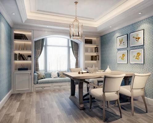 美式餐厅, 餐厅, 餐桌, 椅子, 沙发, 置物柜, 书籍, 吊灯, 装饰画