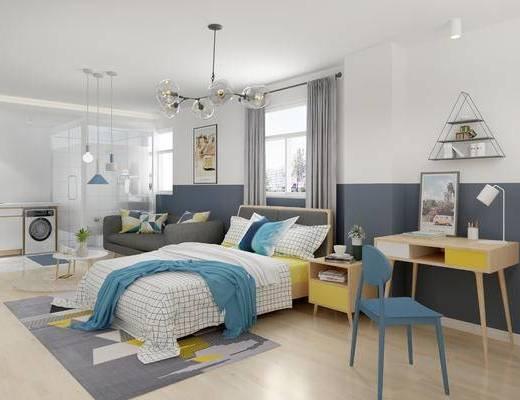 北欧卧室, 卧室, 双人床