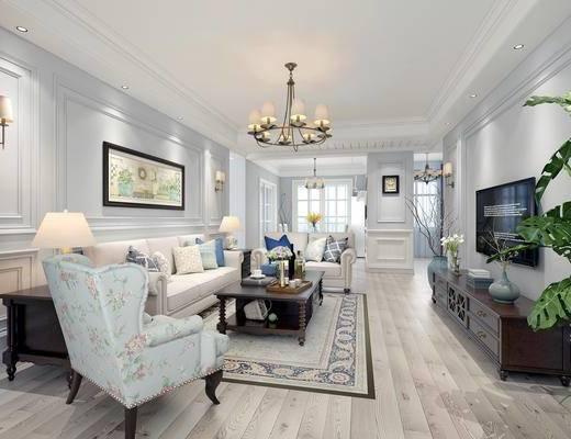 美式客厅, 客厅, 美式吊灯, 美式沙发, 沙发茶几, 电视柜, 盆栽, 壁灯, 茶具, 美式餐厅, 餐厅, 餐桌, 椅子