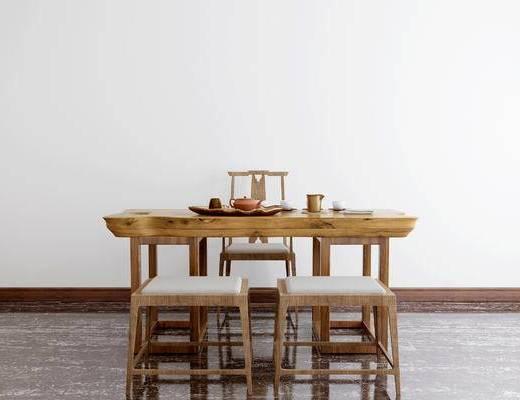 中式茶桌, 桌椅组合, 茶桌