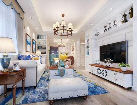 美式客厅, 美式餐厅, 客厅, 餐厅, 美式沙发, 电视柜, 沙发茶几, 边柜, 美式台灯, 餐桌, 椅子, 装饰画