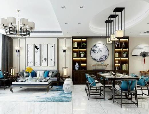 新中式客厅, 客厅, 客厅餐厅, 沙发组合