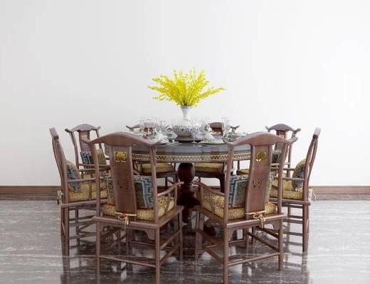 新中式餐桌, 餐桌, 桌椅组合