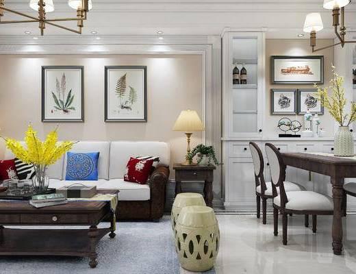 美式客厅, 客厅, 美式沙发, 美式吊灯, 美式餐厅, 餐厅, 餐桌, 椅子, 沙发茶几, 挂画, 边几, 台灯