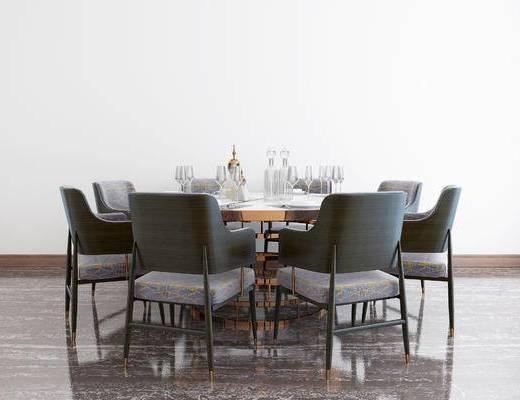 新中式餐桌, 餐桌, 餐桌椅