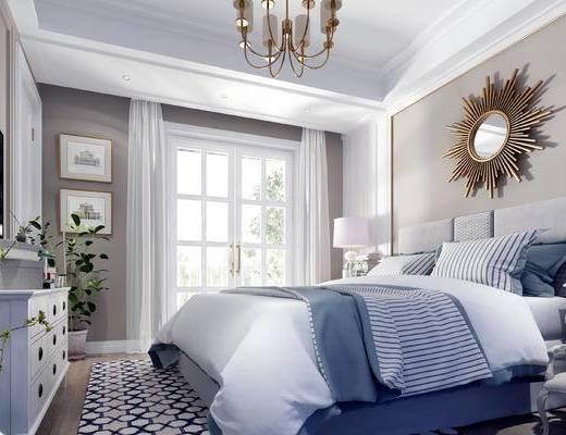 美式卧室, 美式床具, 双人床, 墙饰, 镜子, 美式吊灯, 挂画, 床头柜, 台灯, 盆栽, 装饰柜