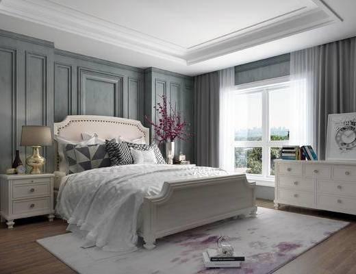 美式卧室, 美式床具, 双人床, 床头柜, 装饰柜, 装饰画, 花瓶