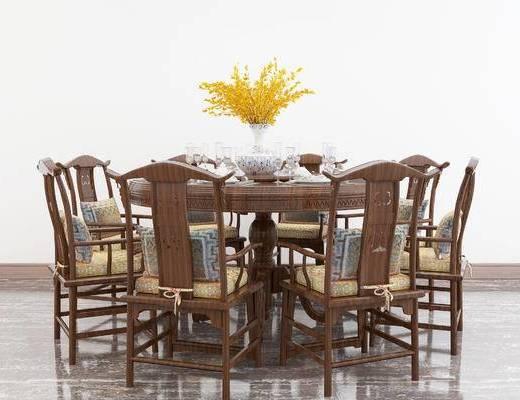 新中式餐桌, 餐桌椅, 餐桌