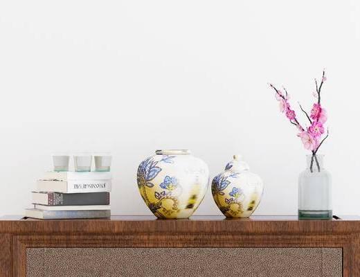新中式花瓶, 花瓶, 摆件, 摆件组合
