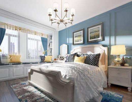 美式卧室, 美式床具, 双人床, 美式吊灯, 台灯, 床头柜, 挂画