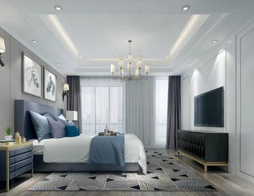 美式卧室, 美式床具, 双人床, 吊灯, 壁灯, 床头柜, 电视柜, 台灯
