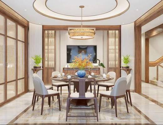 新中式餐厅, 餐厅, 餐桌椅