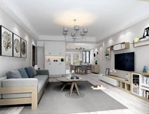 现代客厅, 北欧客厅, 客厅, 现代沙发, 沙发茶几, 挂画, 吊灯, 电视柜, 置物柜, 摆件, 现代餐厅, 餐厅, 餐桌, 椅子