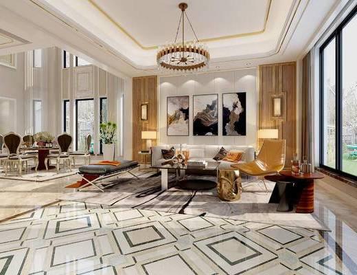 后现代客厅, 客厅餐厅, 沙发组合, 客厅
