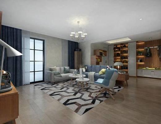 北欧客厅, 客厅, 沙发茶几, 电视柜, 吊灯, 摆件, 鞋柜