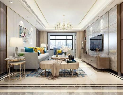 后现代客厅, 客厅, 沙发组合
