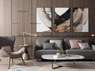 3D模型北欧多人沙发茶几台灯装饰画组合
